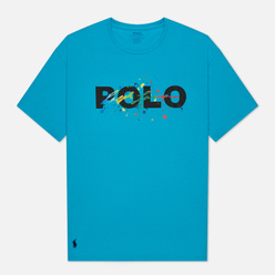 Мужская футболка Polo Ralph Lauren Classic Fit Paint Splatter Logo Perfect Turquoise