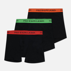 Комплект мужских трусов Polo Ralph Lauren Boxer Brief 3-Pack Black Green/Black Orange/Black Red