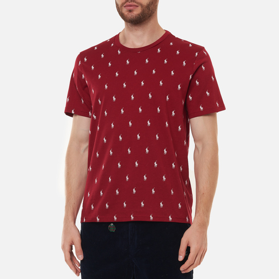 Мужская футболка Polo Ralph Lauren Crew Neck All Over Print Sleep Top Eaton Red