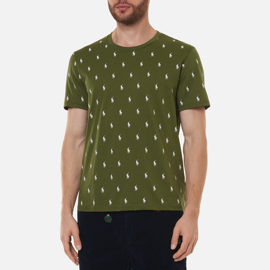 Мужская футболка Polo Ralph Lauren Crew Neck All Over Print Sleep Top Supply Olive