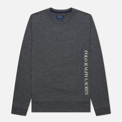 Мужской лонгслив Polo Ralph Lauren Printed Branding Crew Neck Charcoal Heather
