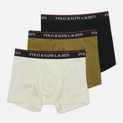 Комплект мужских трусов Polo Ralph Lauren Classic Trunk 3-Pack Black/Basic Olive/Oatmeal Heather