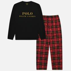 Мужская пижама Polo Ralph Lauren L/S Crew Set And Pyjama Pants Wallace Plaid/Polo Black