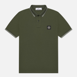 Мужское поло Stone Island Patch Program Slim Fit Moss
