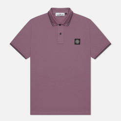 Мужское поло Stone Island Patch Program Slim Fit Magenta