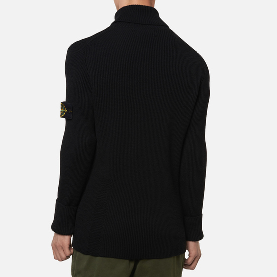 Мужской свитер Stone Island Turtle Neck Wool Black