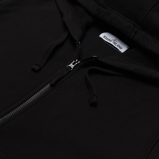 Мужская толстовка Stone Island Hooded Full Zip Brushed Cotton Fleece Black