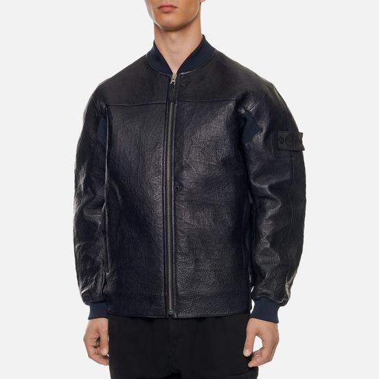Мужская куртка бомбер Stone Island Shadow Project FSDX Dyneema Fused Leather Indigo