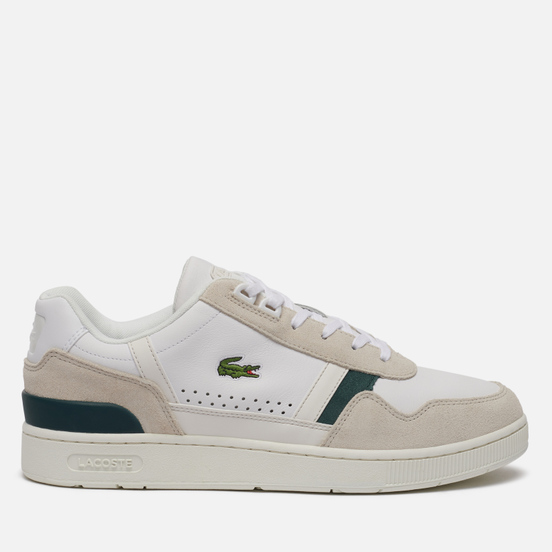 Мужские кроссовки Lacoste T-Clip Leather And Suede Off White/Dark Green