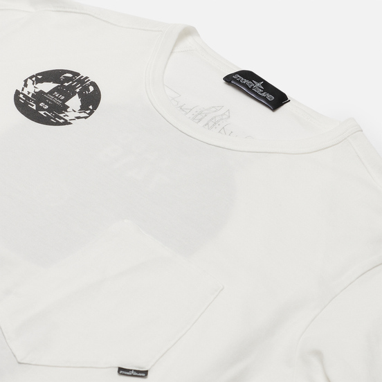 Мужской лонгслив Stone Island Shadow Project Printed Catch Pocket Mako Natural White