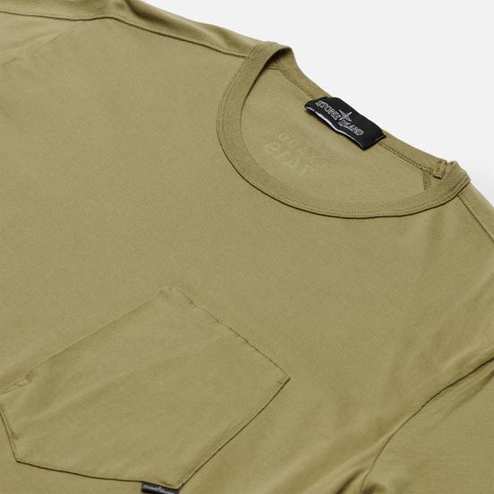 Мужская футболка Stone Island Shadow Project Printed Catch Pocket Mako Olive Green