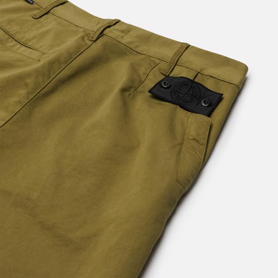 Мужские брюки Stone Island Shadow Project Straight Black Weaved Cotton Satin Olive Green