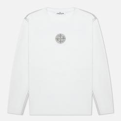 Мужской лонгслив Stone Island Garment Dyed Embroidery Logo White
