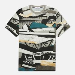 Мужская футболка Stone Island Mixed Media All Over Print Slim Fit Cobalt Blue