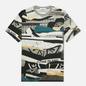 Мужская футболка Stone Island Mixed Media All Over Print Slim Fit Cobalt Blue фото - 0