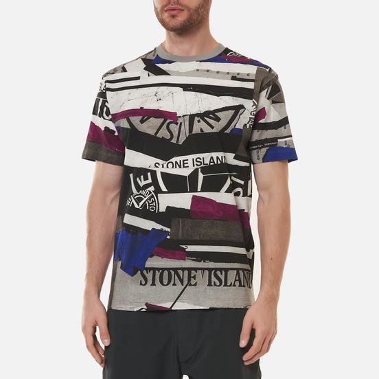 Мужская футболка Stone Island Mixed Media All Over Print Slim Fit Periwinkle