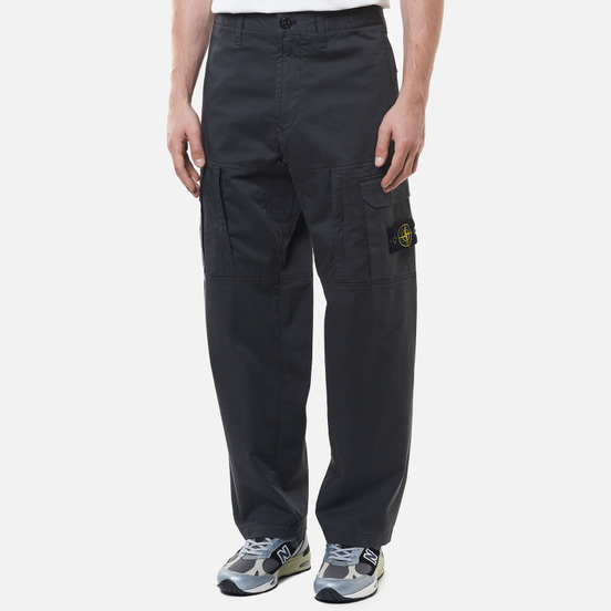 Мужские брюки Stone Island Stretch Cotton Wool Satin Loose Fit Antracite