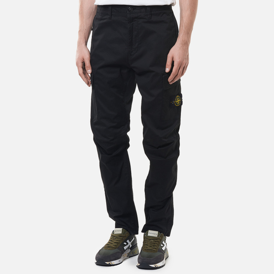 Мужские брюки Stone Island Stretch Cotton Gabardine Regular Tapered Fit Black