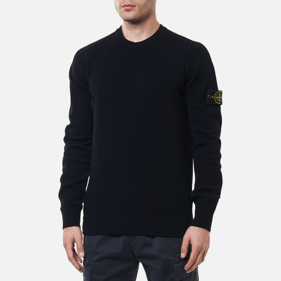 Мужской свитер Stone Island Classic Ribbed Neck Wool Black