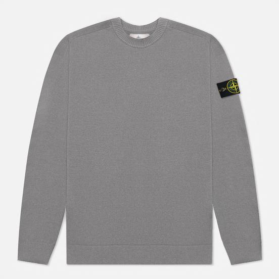 Мужской свитер Stone Island Classic Ribbed Neck Wool Pearl Grey