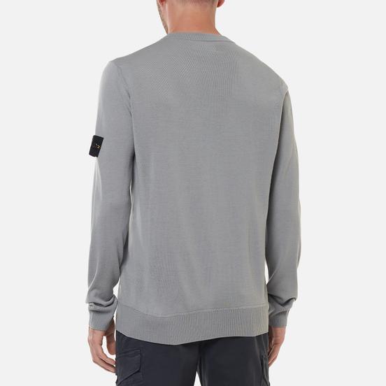 Мужской свитер Stone Island Classic Crew Neck Wool Pearl Grey