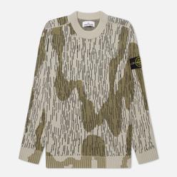 Мужской свитер Stone Island Rain Camo Mixed Yarn Ecru