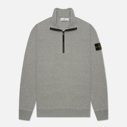 Мужская толстовка Stone Island Brushed Cotton Fleece Half-Zipper Melange Grey