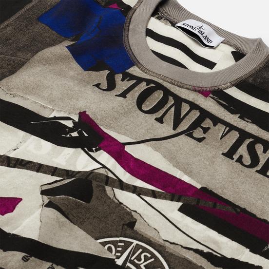 Мужская толстовка Stone Island Mixed Media All Over Print Periwinkle