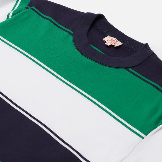 Мужская футболка Armor-Lux Heritage Large Striped Regular Fit Navire Navy/White/Billard Green