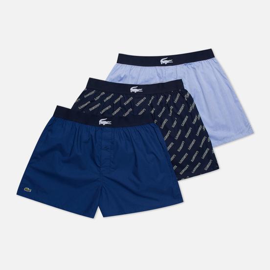 Комплект мужских трусов Lacoste Underwear 3-Pack Boxers Authentic Cotton Jacquard Navy Blue/Blue