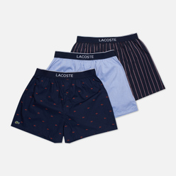 Комплект мужских трусов Lacoste Underwear 3-Pack Boxers Authentic Navy Blue/Bordeaux/Blue/White