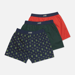 Комплект мужских трусов Lacoste Underwear 3-Pack Boxers Authentic Christmas Edition White/Green/Red