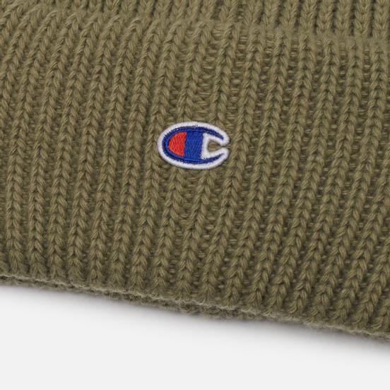 Шапка Champion Reverse Weave C Logo Patch Tall Beanie Stone Green