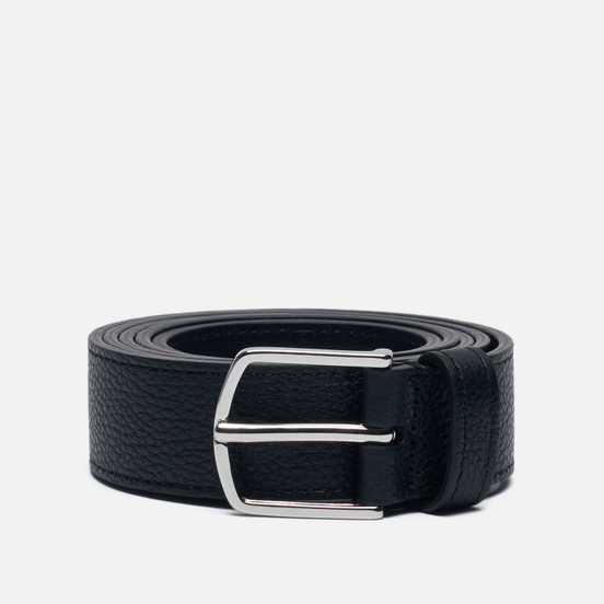 Ремень Anderson's Narrow Stitch Trimmed Soft Grained Leather Black