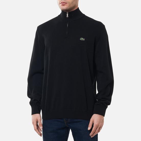 Мужской свитер Lacoste Embroidered Crocodile Half-Zip Black