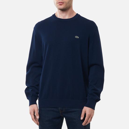 Мужской свитер Lacoste Classic Fit Embroidered Crocodile Navy Blue