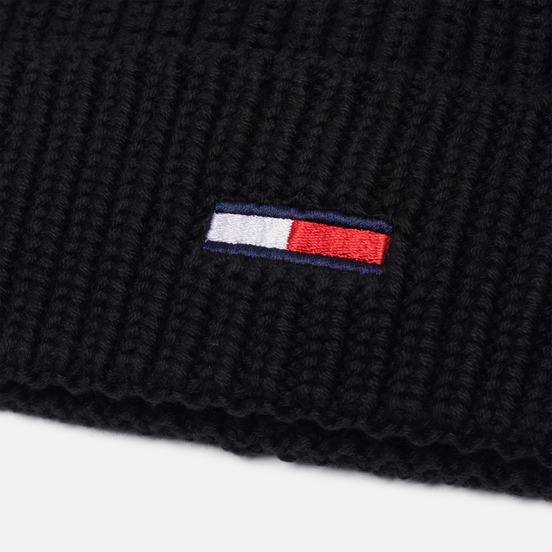 Шапка Tommy Jeans Basic Flag Rib-Knit Black
