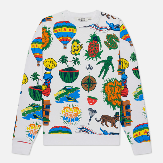 Мужская толстовка Billionaire Boys Club All Over Print Crewneck White