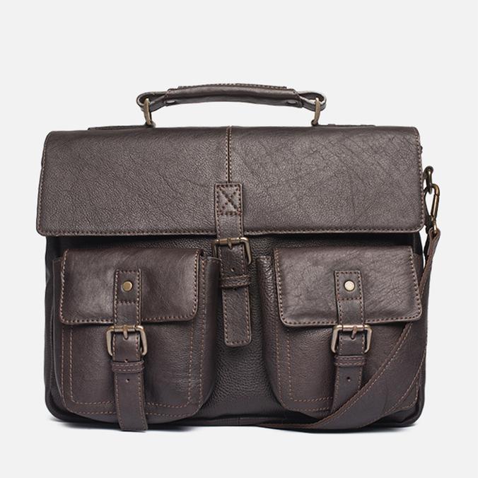 Barbour Leather City Bag Dark Brown