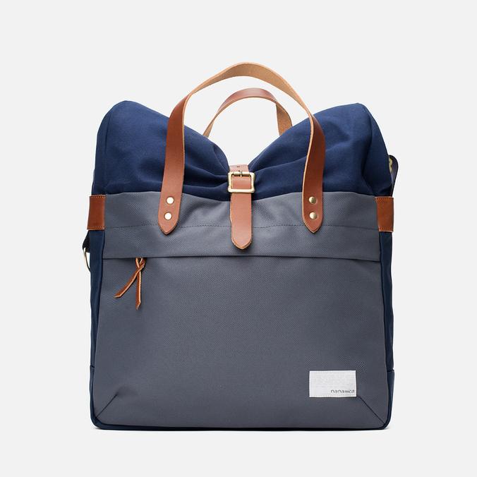 Nanamica Briefcase Bag Blue Gray/Navy/White