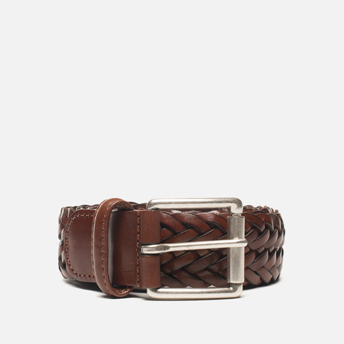 Anderson's Classic Woven Leather Belt Brown