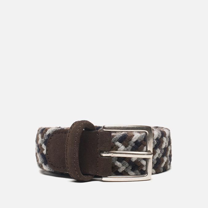Anderson's Classic Woven Wool Milticolor Men's Belt Brown/Navy/Grey
