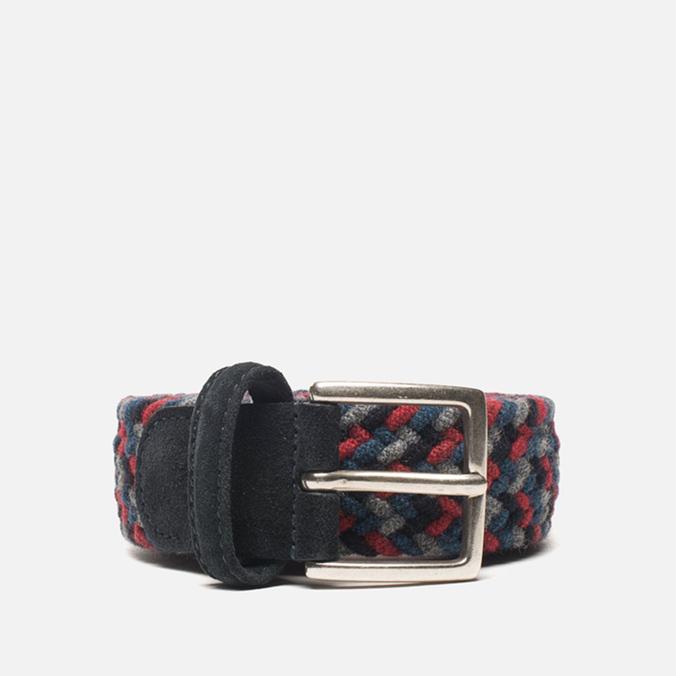 Anderson's Classic Woven Wool Milticolor Men's Belt Grey/Navy/Red