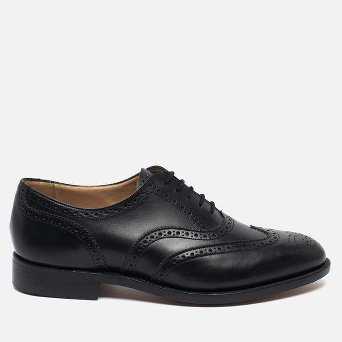 Мужские ботинки броги Tricker's Brogue Oxford Epsom Black Calf