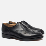 Мужские ботинки броги Tricker's Brogue Oxford Epsom Black Calf фото- 1