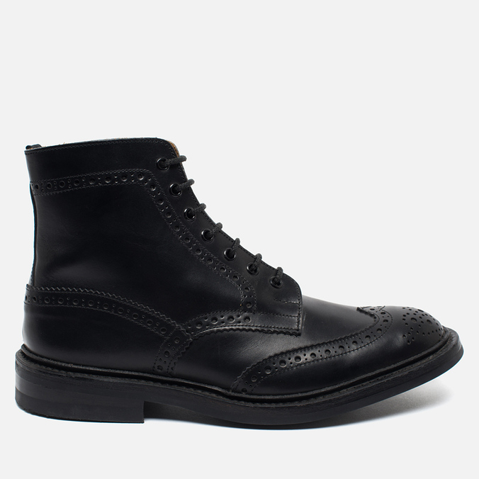Trickers Heavy Brogue Stow Men's Shoes Black Calf
