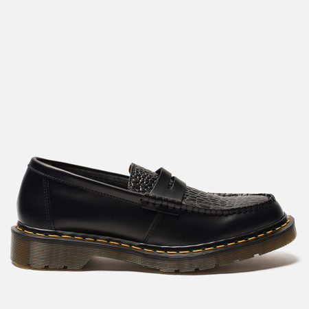 Ботинки лоферы Dr. Martens x Stussy Penton New Vibrance Croco Black Smooth