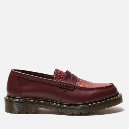 Ботинки лоферы Dr. Martens x Stussy Penton New Vibrance Croco Cherry Red Smooth
