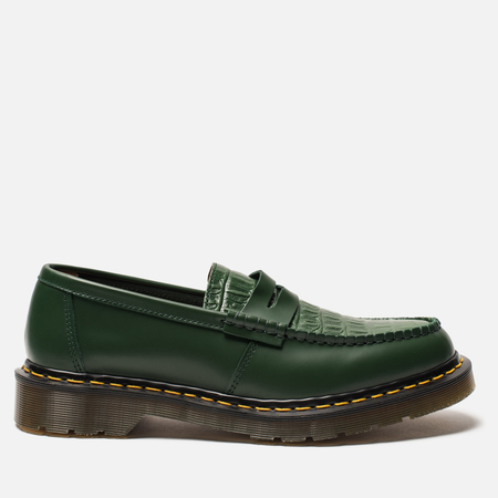 Ботинки лоферы Dr. Martens x Stussy Penton New Vibrance Croco Green Smooth
