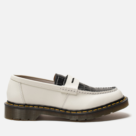 Ботинки лоферы Dr. Martens x Stussy Penton New Vibrance Croco White/Black Smooth